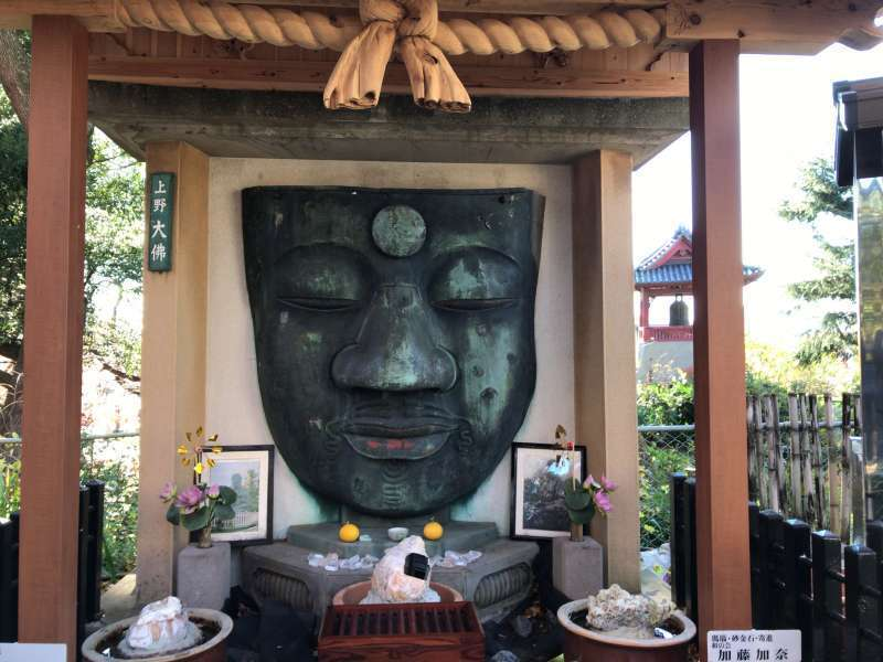 The face of a great statue of Buddha in Ueno Park