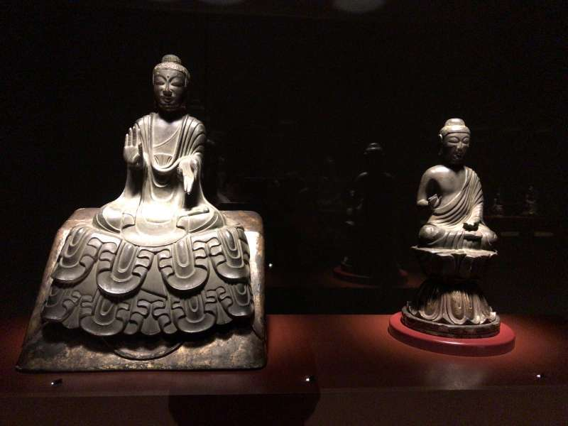 Buddhist statues exhibited at the Gallery of Horyuji Treasures