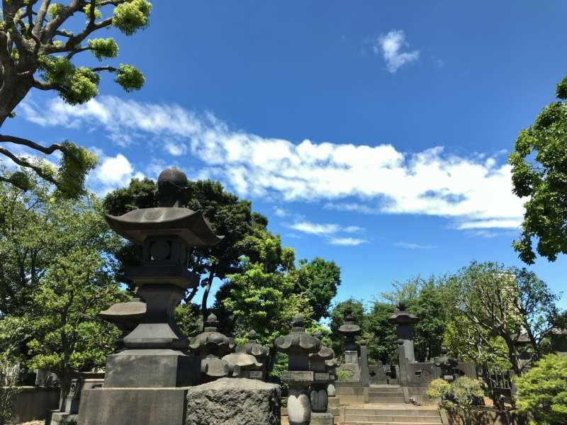 Yanaka Cemetery having numerous tombs in Yanaka area.