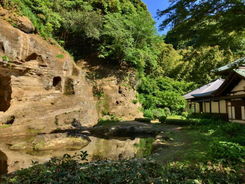 The garden of Zuisenji Temple, originally built in the 14th century, in Eastern Kamakura Area