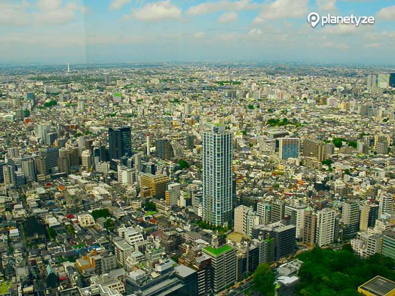 Wonderful view from Observation Deck of the Tokyo Metropolitan Government Building.