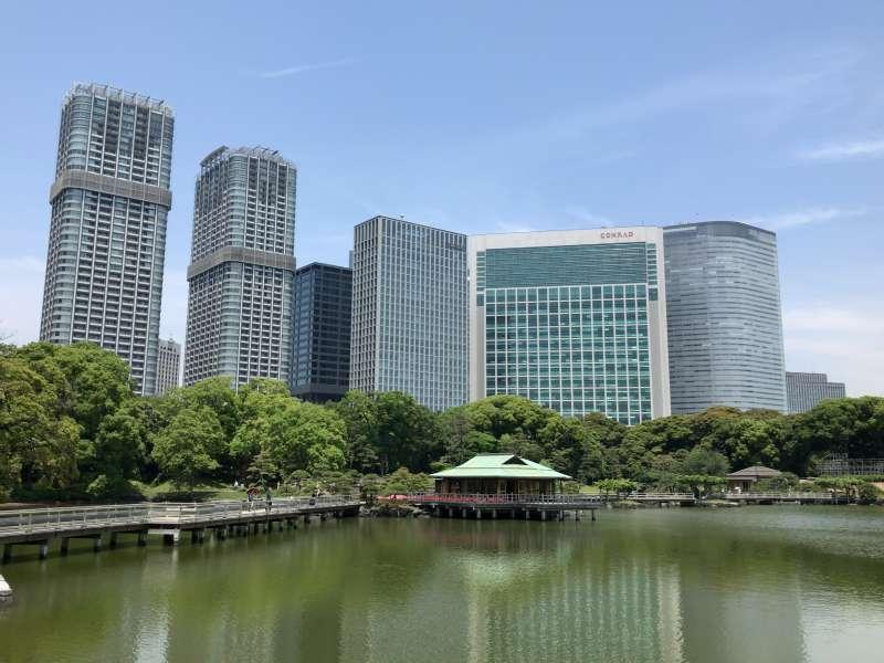 Hamarikyu Garden, or Hama Detached Palace Garden near Tsukiji Market, in Marunouchi area