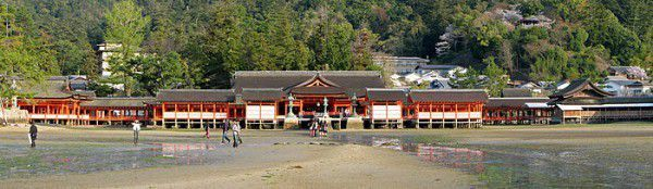The shrine has been destroyed many times, but the first shrine buildings were probably erected in the 6th century. The present shrine dates from the mid-16th century, and is believed to follow an earlier design from the 12th century.[3] That design was established in 1168, when funds were provided by the warlord Taira no Kiyomori.