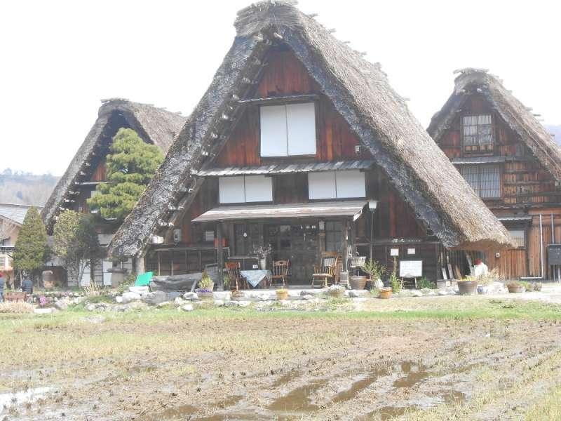 3 Gassho farmhouses are line-up.