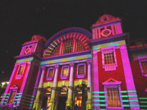 Osaka Central Public Hall lit up at Osaka Light Renaissance on December.