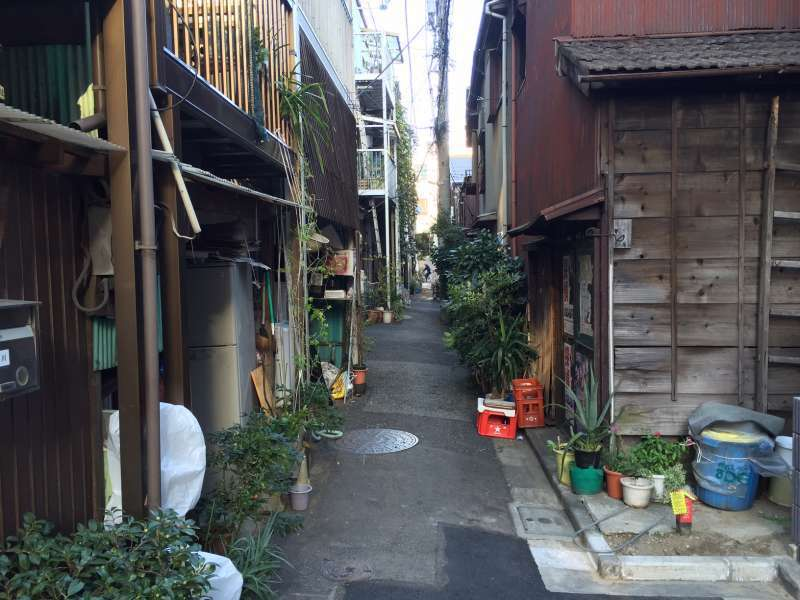 A narrow street in Yanaka, where you can feel the atmosphere of good old days