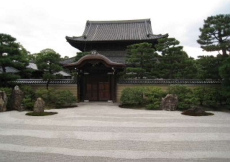 A dry landscape garden at Kenninji temple. A suitable place for meditation.
