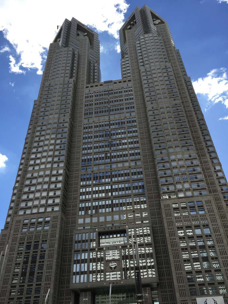 Tokyo Metropolitan Government Buildings are twin high rise building, which represents modern architect technology combined with traditional one used in old pagoda. They have free observation deck open to public.