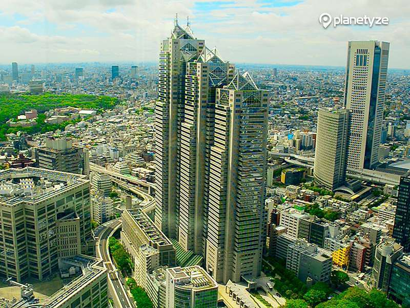 Beautuful view from Tokyo Metropolitan Government Building Observation Deck.