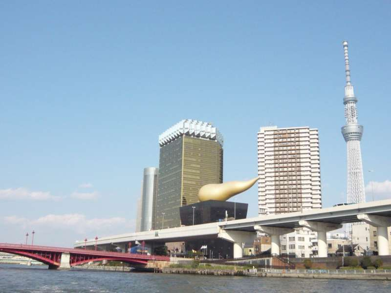 Cruising the River Sumida from Hamarikyu Garden to Asakusa.