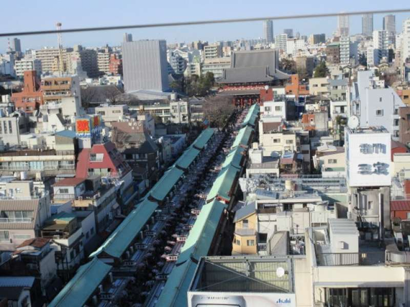 The street of Nakamise Street where  about 90 stores and stalls are lining.  You can buy souvenirs here.