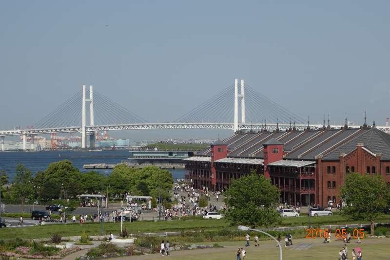 Nice view of Yokohama Bay Bridge and Red brick warehouse