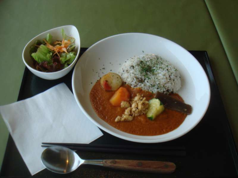Vegetarian curry is tasty in a restaurant of Hasedera temple.