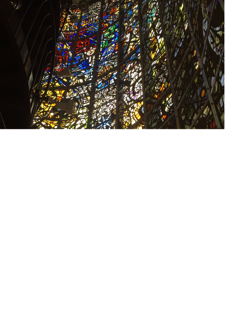 Stained glass tower in Open Air Museum