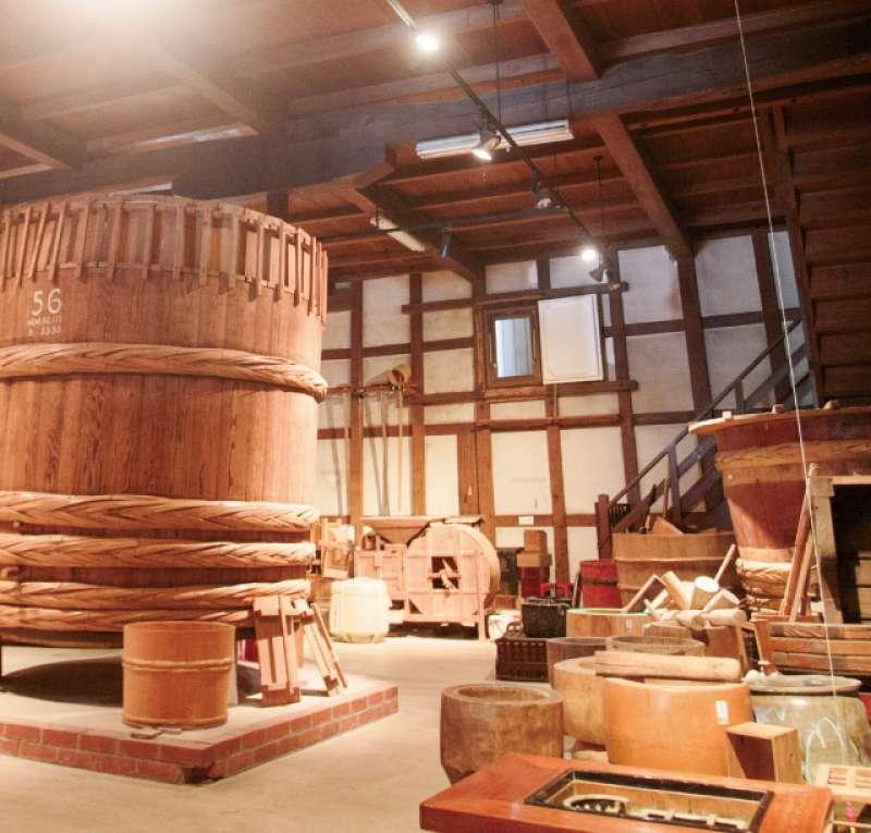 Inside of Sake Museum, displaying traditional tools to make Sake.