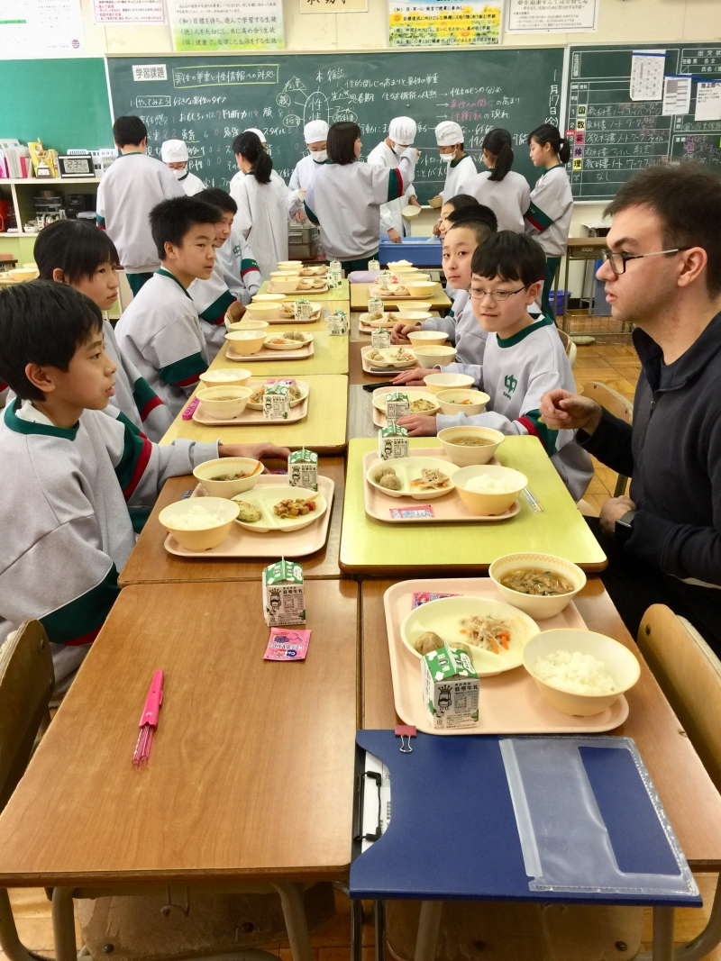 School lunch with junior high school students (7th graders)