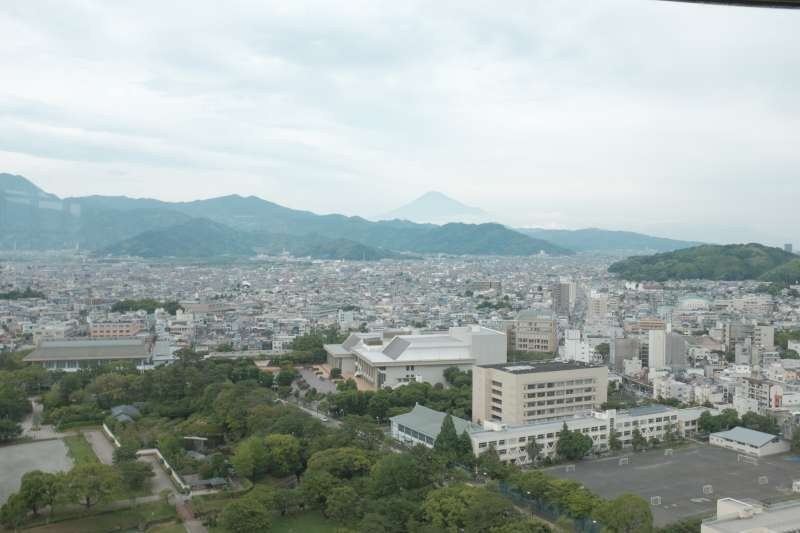 View from the Prefectural Office Observatory, with Mt. Fuji seen vaguely in the distance