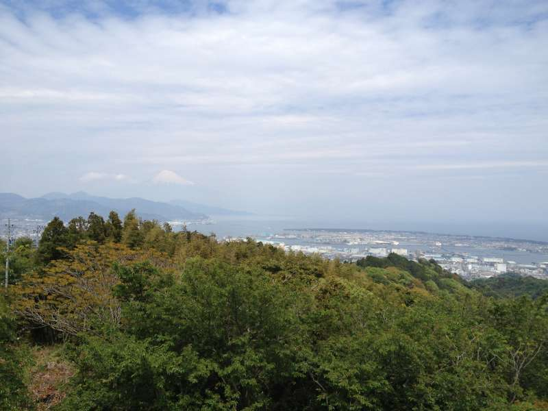 View from the Nihondaira Observatory, with Mt. Fuji vaguely seen in the distance.