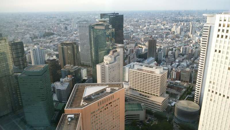 Tokyo view from the 45th floor of the Tokyo Metropolitan Government Building Observatory