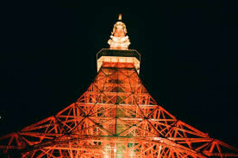 Tokyo Tower with night lights.