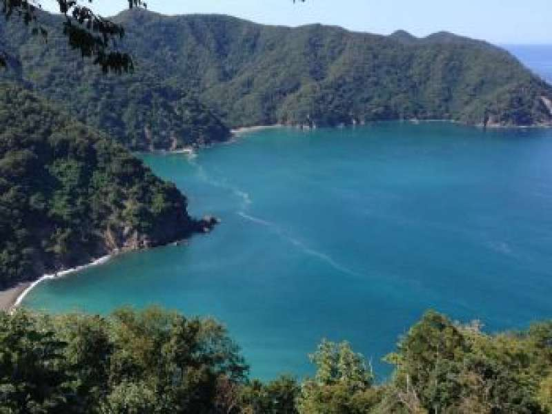 [Apr.] Emerald Green Surface of Lake Yogo (Seen from the Summit of Shizugatake Old Battlefield)