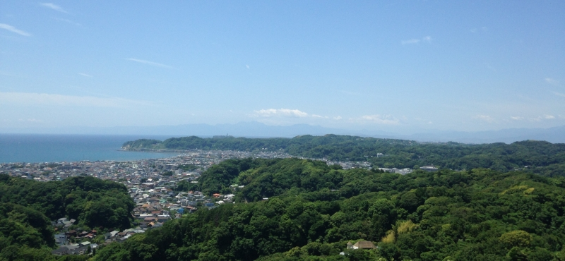 View of the Pacific Ocean from the hiking trail (H1). It can also be viewed from Engaku-ji, Kencho-ji, and Hasedera temples.
