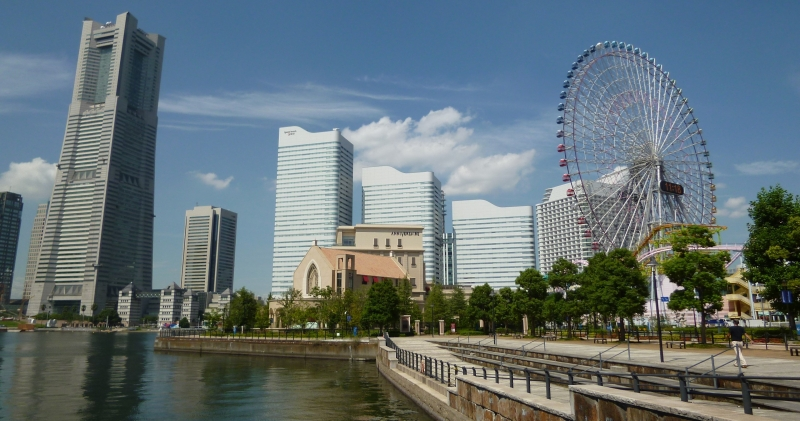 View of Minato Mirai from the walking path between the International Ferry Terminal and the Landmark Tower. (#13)