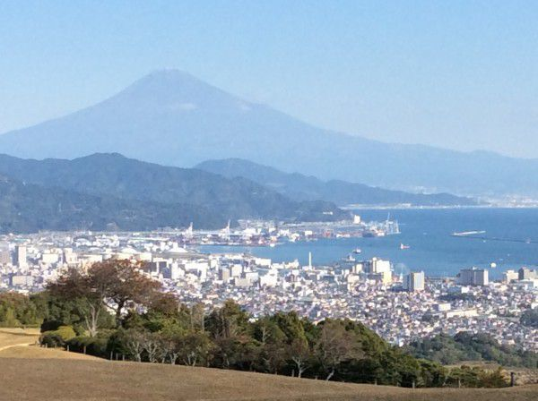 A great view of Mt. Fuji and Shimizu port from Nihondaira.