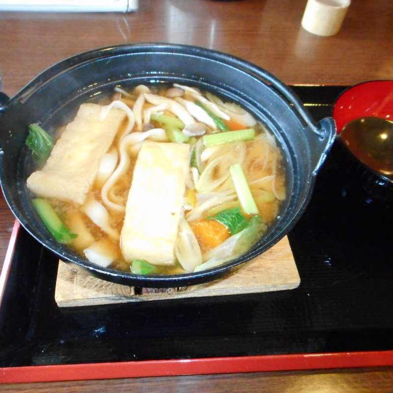 Local speciality is Houtou, thick Udon noodles cooked with Miso soup