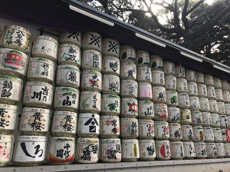 Sake barrels!  These are offered to the shrine.