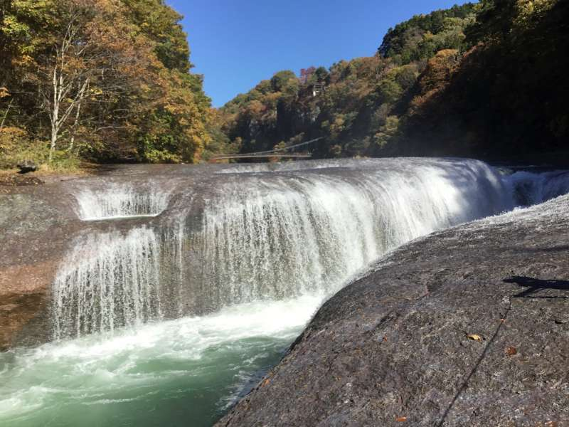Fukiware water falls is located in Gunma whose width is 30 meter and the height is 7 meter.