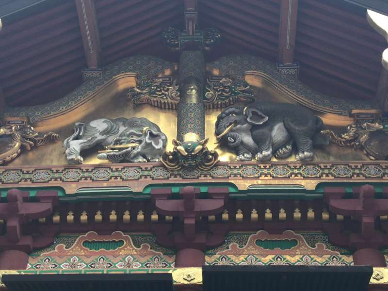 Two elephants carved on the Sacred Storehouse, designed by a famous painter, Kano Tanyu in the 17th century in Toshogu Shrine.