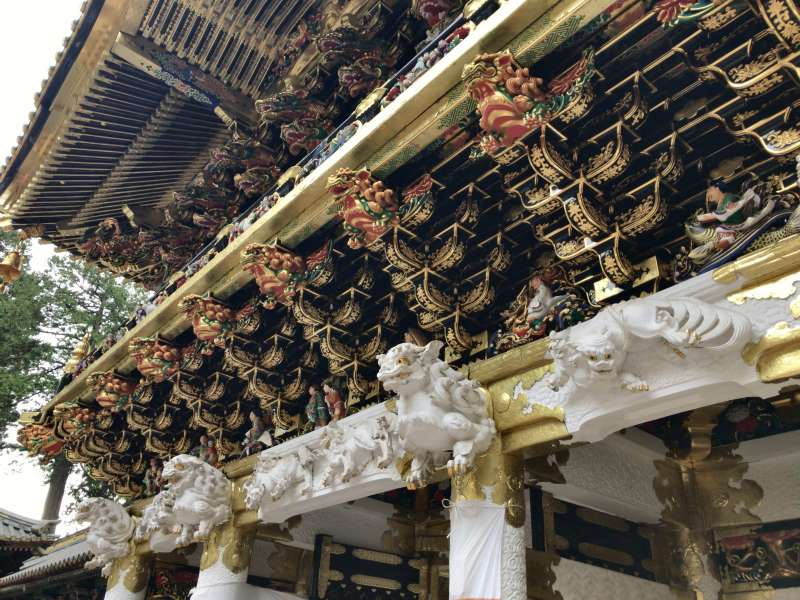 Elaborate sculptures on Yomei-mon Gate, in Toshogu Shrine.