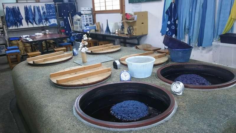 Inside the indigo dyeing studio