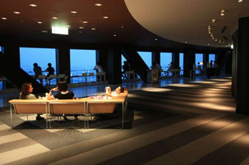 Umeda Sky Building. Sitting on the sofa inside room of 40th floor, spacious views are coming out in your eyes.