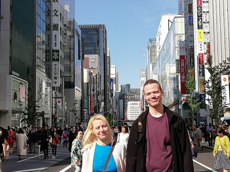 Vehicle-free promenade in Ginza