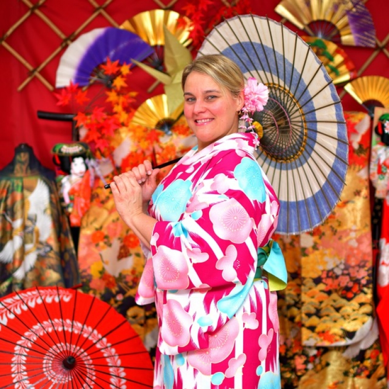 A sweet guest with Kimono from U.S.A, at Narita town, June 2018