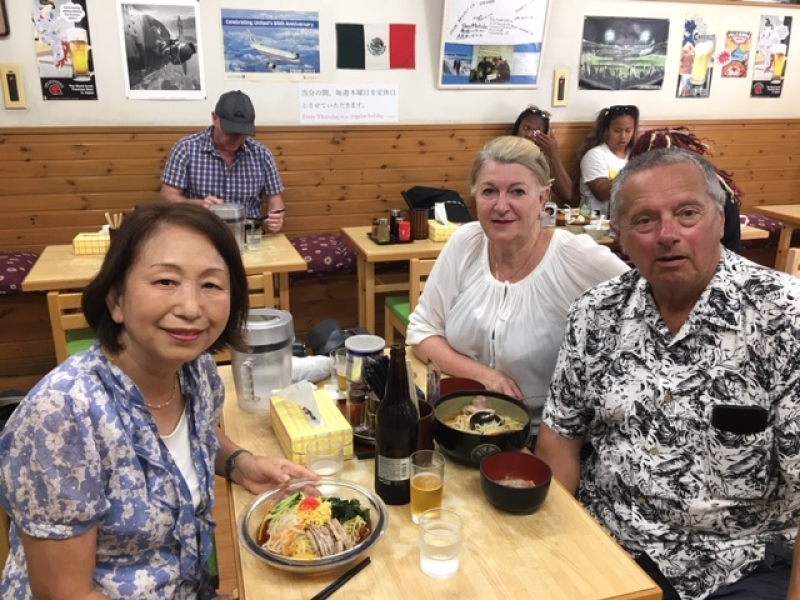 A wonderful couple from Sydney, Australia, at Narita, August 2019