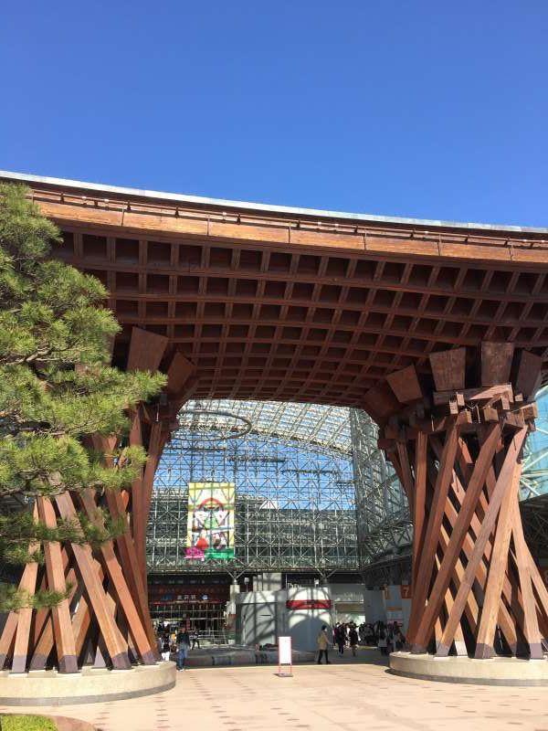 Tsuzumi-mon gate in front of JR Kanazawa sta.