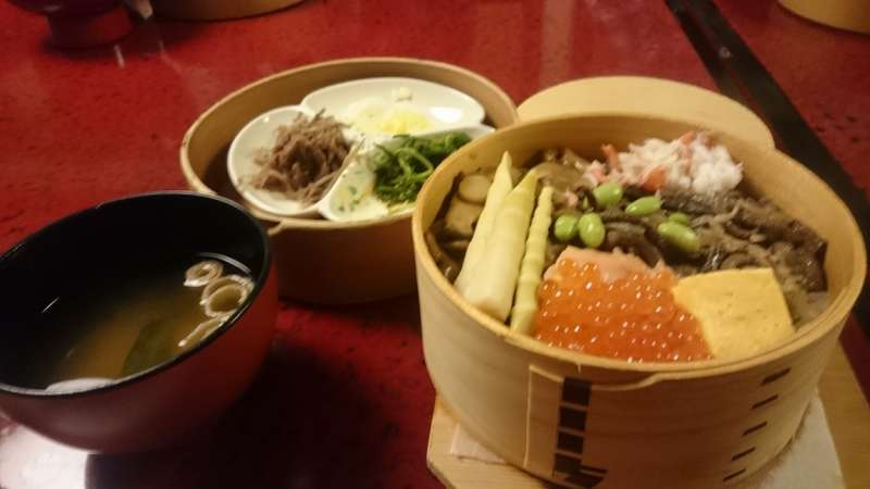 Wappa-mashi( Rice and food steamed in a circular wood container)
