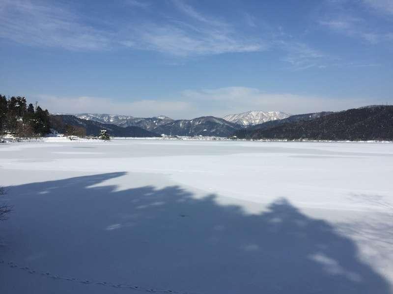 Frozen Lake Yogo with a Background of Snow-covered Yokoyama-dake Mountain [2 of 2]