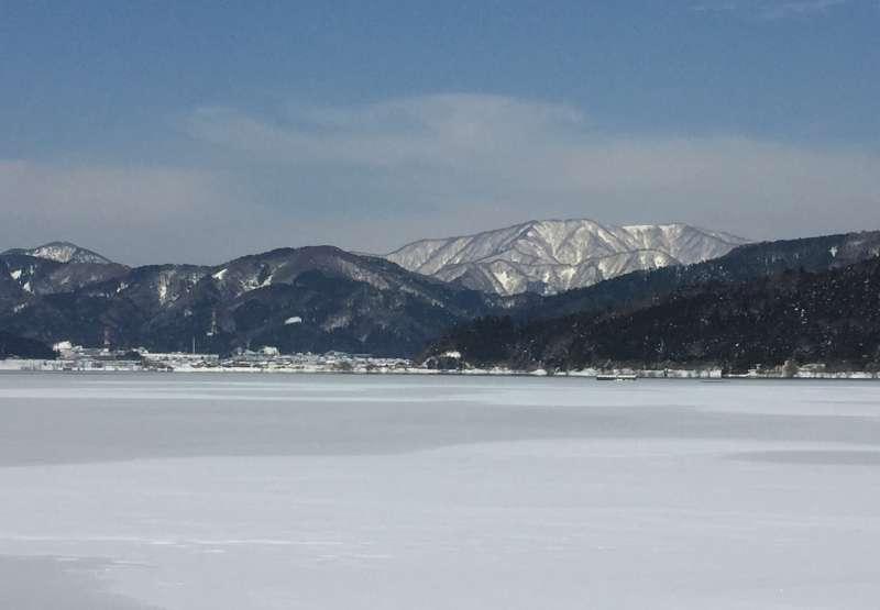 Frozen Lake Yogo with a Background of Snow-covered Yokoyama-dake Mountain [1 of 2]