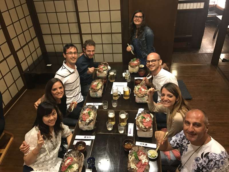 Dinner with guests and eating Hoba miso with hida beef