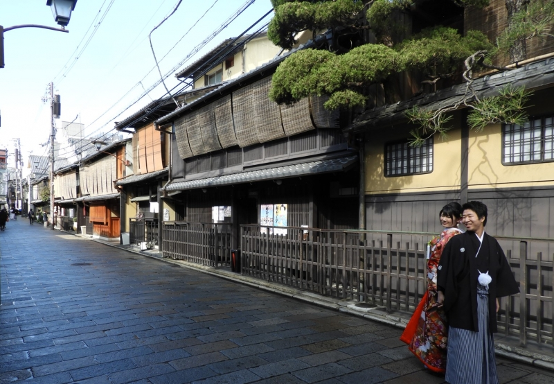 Old Japanese style houses in Shinbashi street / Gion area