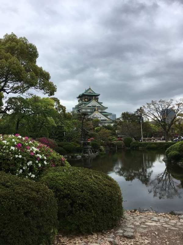 Osaka castle from Japanese garden