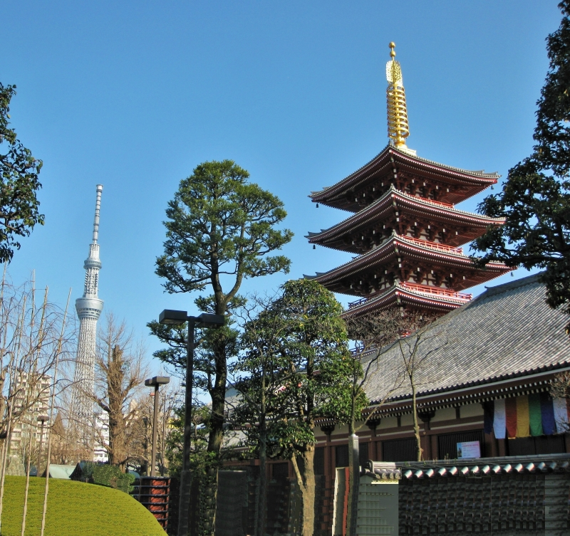 Five-storied pagoda in Asakusa Sensoji and Tokyo Sky Tree
