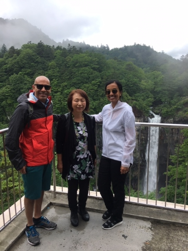 A wonderful couple from Dallas, U.S.A., at Kegon Waterfall in Nikko, July 2019