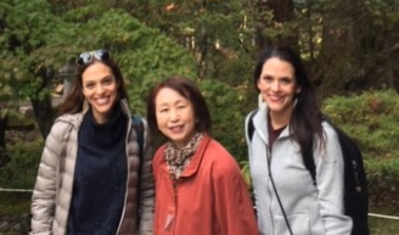 Wonderful ladies from Atlanta, U.S.A., Enjoyed beautiful leaf coloring at Taiyu-in Temple in Nikko, Nov. 2019