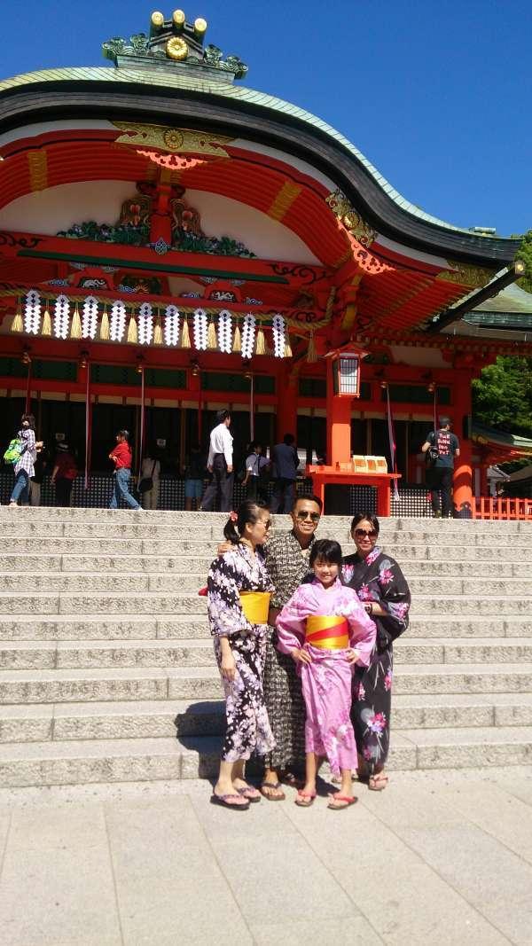 In front of 'Honden',the main hall of Fushimi-inari Shrine. Only Yukata-clad people.