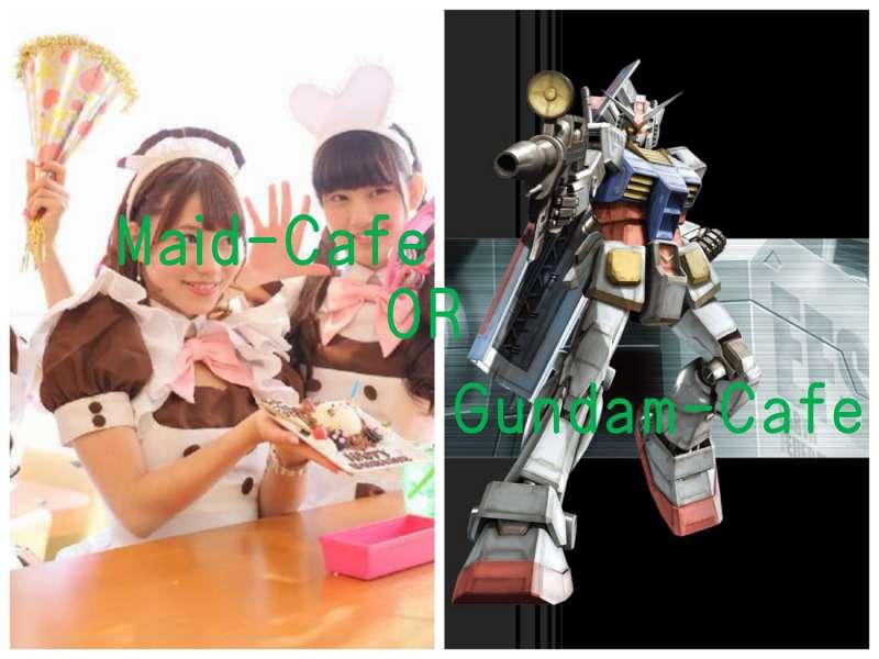 Maid-Cafe or GUNDAM-cafe??or local food??
